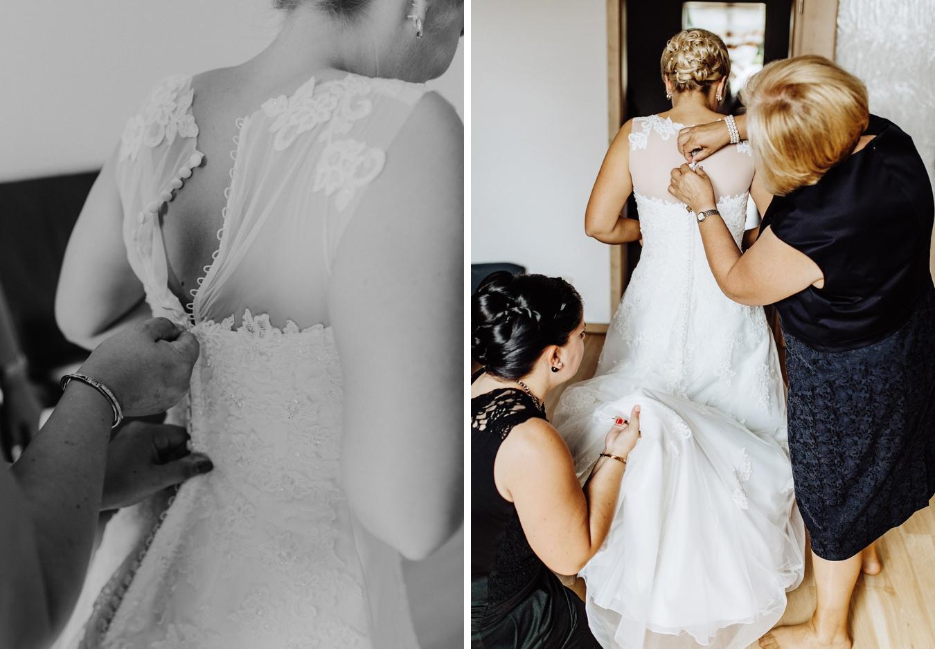 Brautkleid anziehen